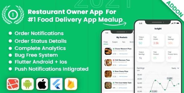 owner app for Multiple Restaurants Food Ordering Flutter App Mealup