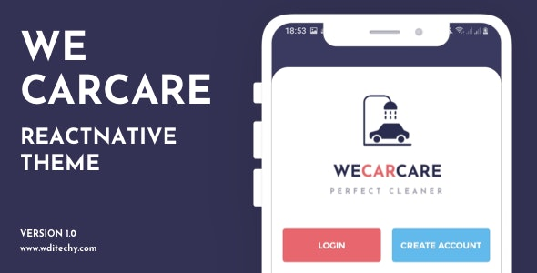 WeCarCare React Native Car Service Theme/Template - CodeCanyon Item for Sale