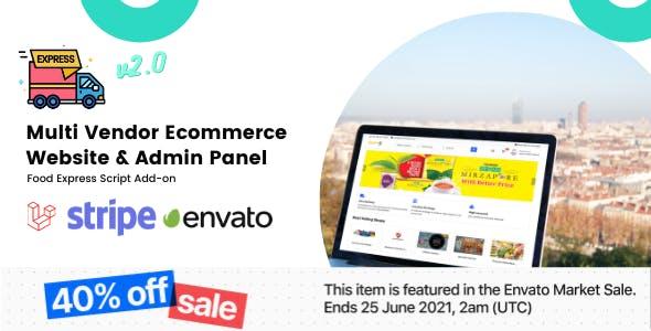 Multi-Vendor E-commerce Website & Admin Panel For Food-Express
