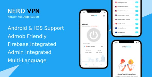 Nerd VPN : Flutter VPN Full Application with IAP, Integrated with Backend and Admin Panel