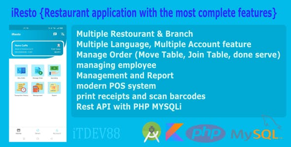iResto | Restaurant application with the most complete features, with rest API and multi access