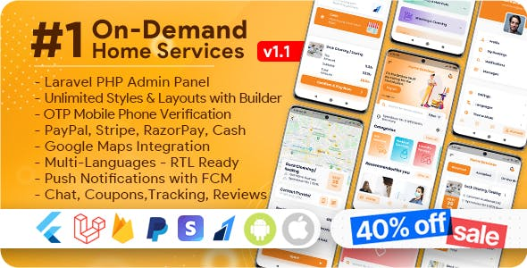 On-Demand Home Services, Business Listing, Handyman Booking with Admin Panel
