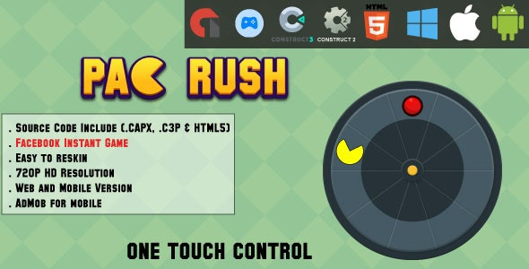 Pac Rush - HTML5 Game - Web, Mobile and FB Instant games(CAPX, C3p and HTML5) - CodeCanyon Item for Sale