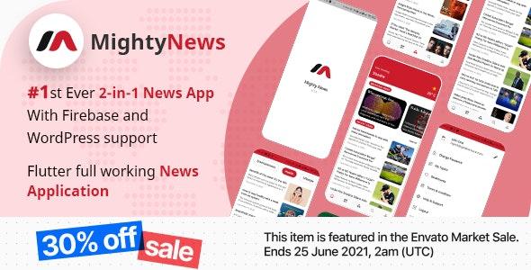 MightyNews v26 – Flutter 2.0 News App with WordPress + Firebase backend
