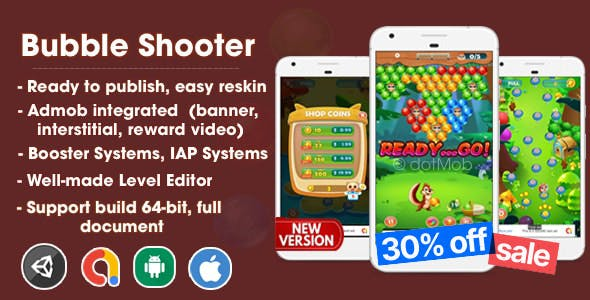 Bubble Shooter - Unity Template Project (Android + iOS + AdMob)