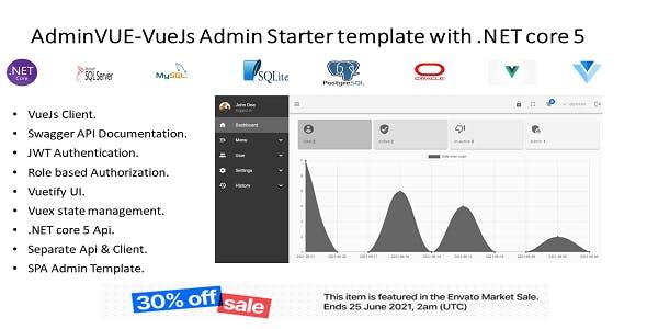 AdminVUE -VueJs Starter Admin Template with .NET Core 5