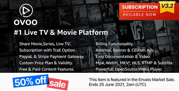 OVOO v3.2.9 – Live TV & Movie Portal CMS with Membership System – nulled