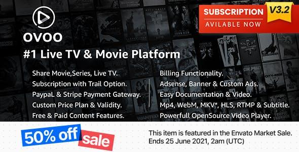 OVOO - Live TV & Movie Portal CMS with Membership System