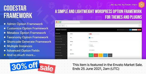 Codestar Framework - A Simple and Lightweight WordPress Option Framework for Themes and Plugins