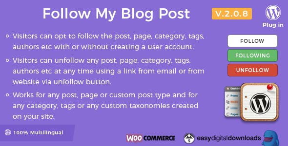 Follow My Blog Post - WordPress / WooCommerce Plugin