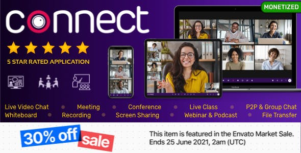 Connect - Live Video Chat, Conference, Live Class, Meeting, Webinar, Whiteboard, File Transfer, Chat