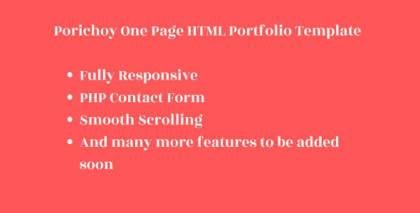 Porichoy - One Page Responsive HTML Personal Portfolio Template With PHP Contact Form