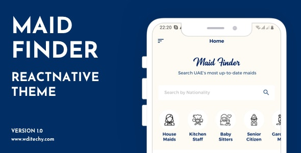 MaidFinder React Native Theme/Template - CodeCanyon Item for Sale