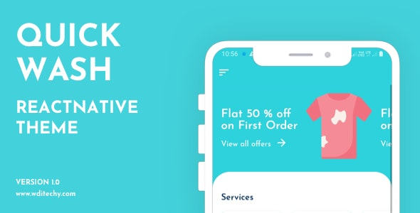 QuickWash React Native Dry Cleaning Theme/Template - CodeCanyon Item for Sale
