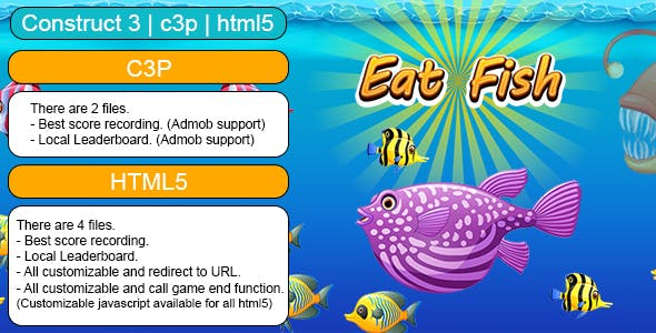 Eat Fish Game (Construct 3 | C3P | HTML5) Customizable and All Platforms Supported
