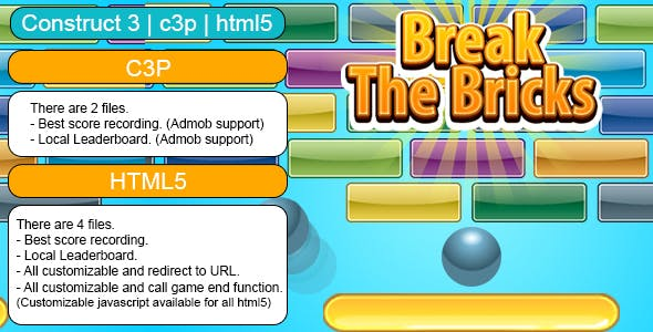 Break The Bricks Game (Construct 3 | C3P | HTML5) Customizable and All Platforms Supported