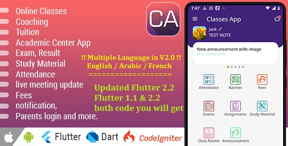 Online Classes / Coaching / Tuition / Institute / Academic Center App - Advance App - CodeCanyon Item for Sale