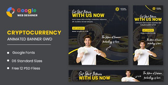 Bitcoin Cryptocurrency Animated Banner Google Web Designer