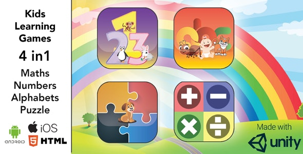 Kids Learning Template 4 in 1 / Unity3D / Android / iOS / HTML - CodeCanyon Item for Sale