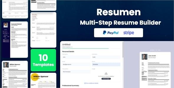 Resumen - Sass MultiStep Resume Builder