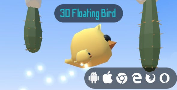 3D Floating Bird - Cross Platform 3D Hyper Casual Game
