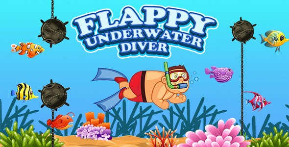 Flappy Underwater Diver Game (Construct 3 | C3P | HTML5) Endless Diving Game