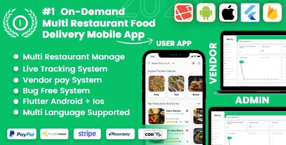 food delivery – Multiple Restaurants food Delivery Flutter App Mealup v5.0 – nulled