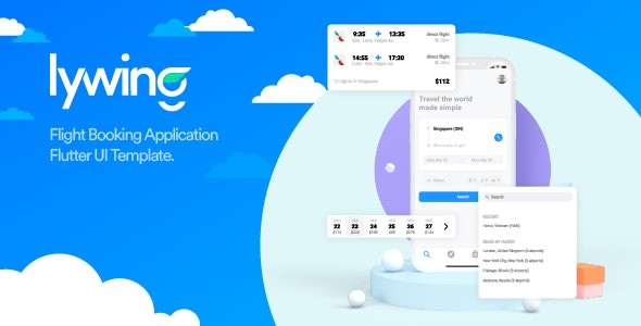 Lywing - Flight Booking App Flutter UI template - CodeCanyon Item for Sale
