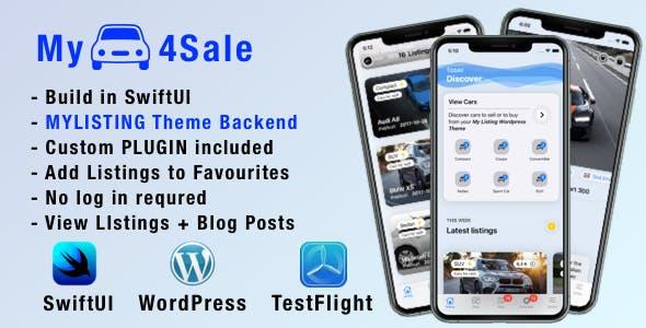 MyCar4Sale - IOS companion app for My Listing Theme: Car Demo. WP Plugins included.
