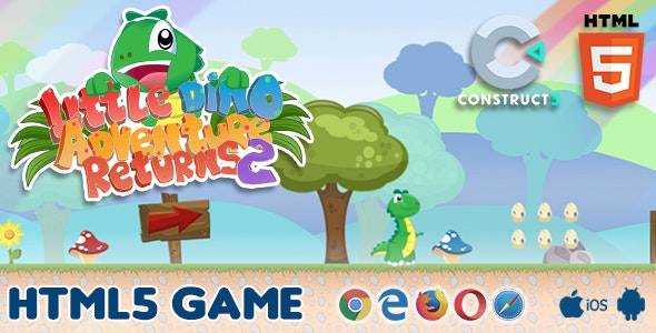 Little Dino Adventure Returns 2 - HTML5 Game Exported - CodeCanyon Item for Sale