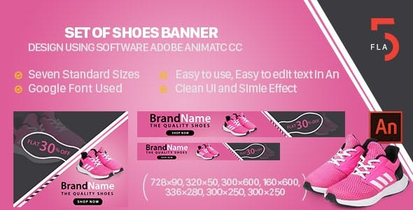 Shoes Banner Ad Animated HTML5 - Animate CC