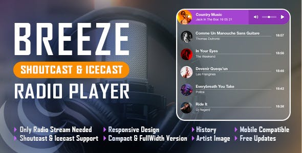Breeze - Shoutcast and Icecast HTML5 Radio Player With History