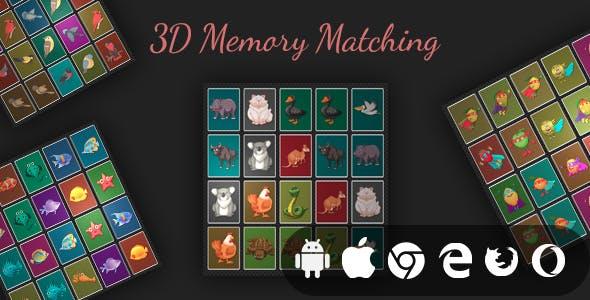 3D Memory Matching - Cross Platform Realistic Memory Game