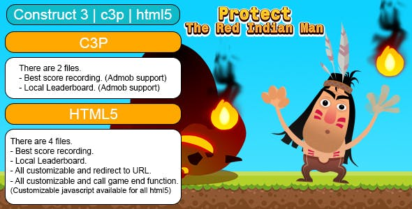 Protect The Red Indian Man Game (Construct 3 | C3P | HTML5) Customizable and All Platforms Supported