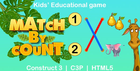 Match By Count Game (Construct 3 | C3P | HTML5) Kids Educational Game
