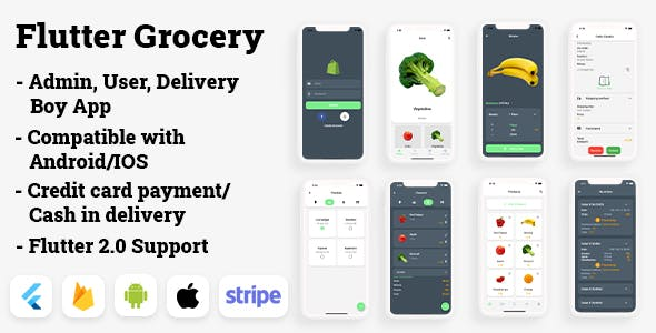 Flutter Grocery: Full Android + iOS eCommerce App (Flutter 2.0 Supported)