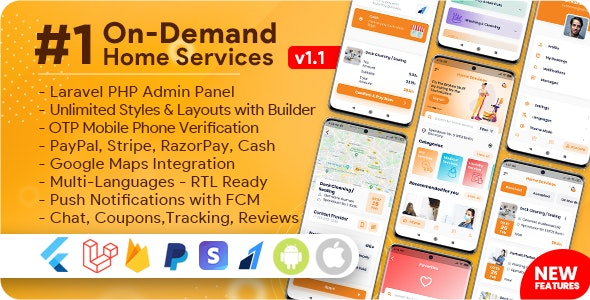 On-Demand Home Services, Business Listing, Handyman Booking with Admin Panel  v1.1.6