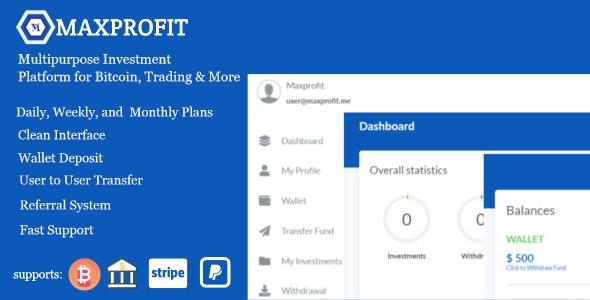 Max Profit - Online Multipurpose Investment Platform - CodeCanyon Item for Sale