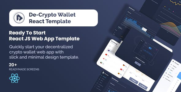 De-Crpyto Wallet - Cryptocurrency Web App React JS Template