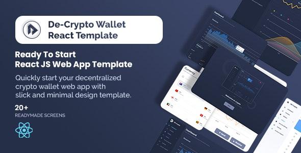 De-Crpyto Wallet v1.1 – Cryptocurrency Web App React JS Template