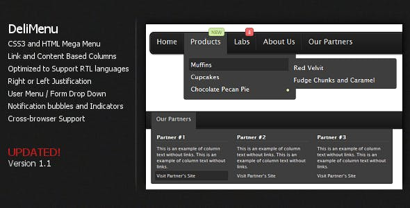 DeliMenu - CSS3 Menu with User based Features