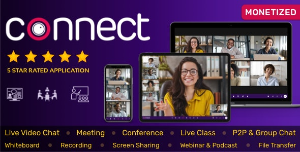 Connect - Live Video Chat, Conference, Live Class, Meeting, Webinar, Whiteboard, File Transfer, Chat - CodeCanyon Item for Sale
