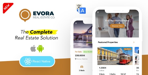 Evora - Real Estate Complete Solution React Native App - CodeCanyon Item for Sale