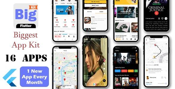 BigKit - Biggest Flutter App Template Kit - 16 Apps (Add 1 App Every Month)