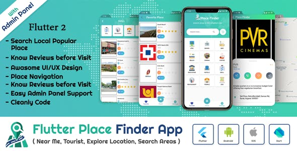 Flutter AppPlace Finder (Near Me,Tourist Guide,City Guide,Explore Location) with admin panel