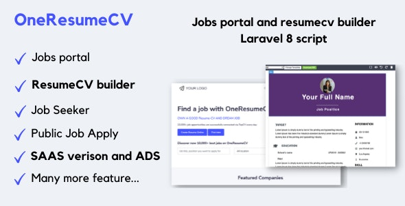 OneResumeCV - Jobs board and resume builder - CodeCanyon Item for Sale