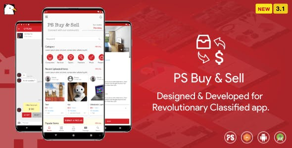 PS BuySell ( Olx, Mercari, Offerup, Carousell, Buy Sell ) Clone  Classified App ( 3.1 )