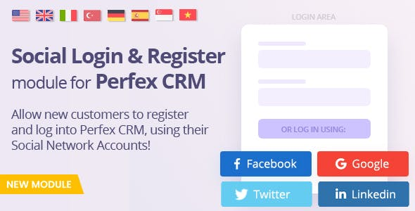 Social Media Login module for Perfex - Register and Log-in using social networks