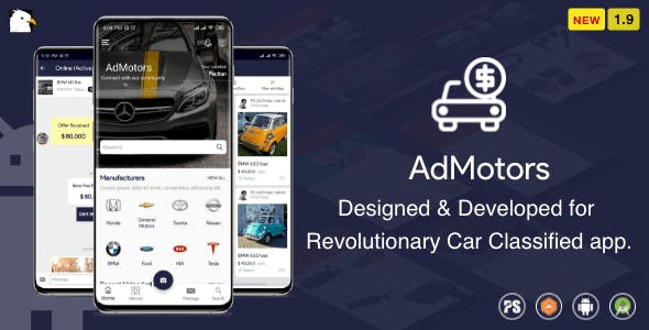 AdMotors For Car Classified BuySell Android App with Chat ( 1.9 )