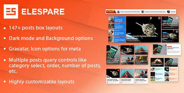 Elespare Pro - News Magazine and Blog Elements Addons for Elementor - CodeCanyon Item for Sale